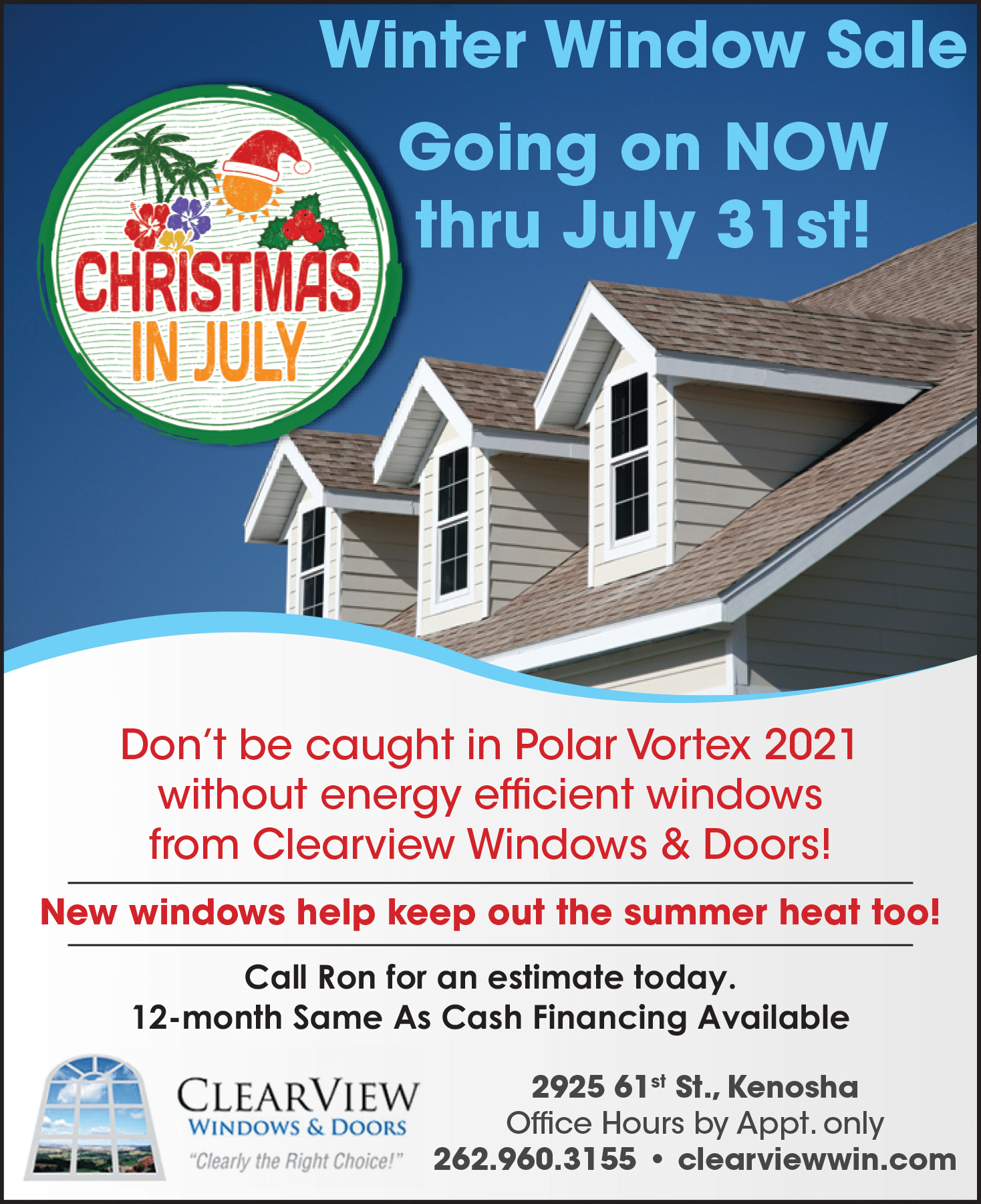 christmas in july, clearview windows and doors, window sale